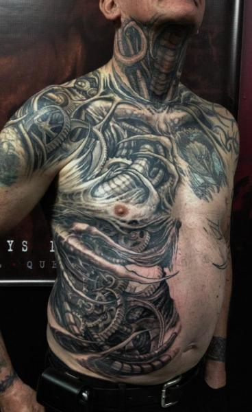 Biomechanical Side Neck Belly Tattoo by Nephtys de l'Etoile