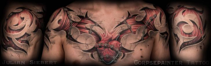 Chest 3d Muscle Tattoo by Corpse Painter