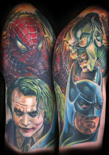 Fantasy Batman Joker Spiderman Goblin Tattoo by Corpse Painter