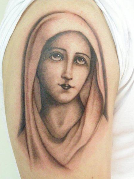 Tatuaggio Braccio Religiosi Madonna di Tatouage Chatte Noire