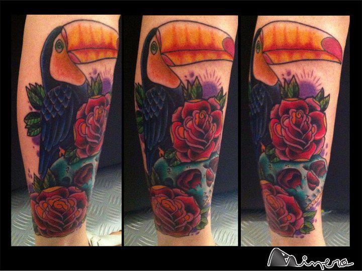 Tatuaggio Braccio Realistici Tucano di Tatouage Chatte Noire