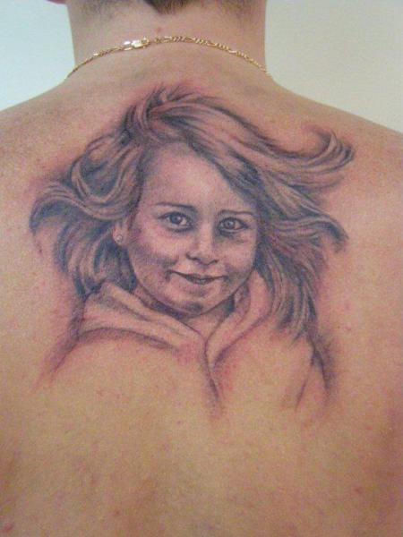 Portrait Back Tattoo by Tatouage Chatte Noire