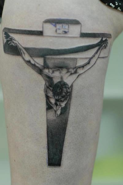 Leg Religious Crux Tattoo by Tatouage Chatte Noire