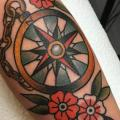 Arm Old School Compass tattoo by Tatouage Chatte Noire