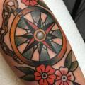 tatuaggio Braccio Old School Bussola di Tatouage Chatte Noire
