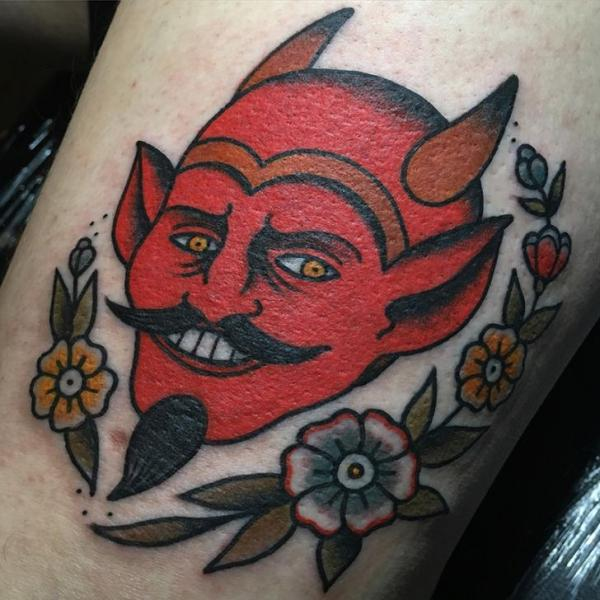 Arm Old School Devil Tattoo by Tatouage Chatte Noire