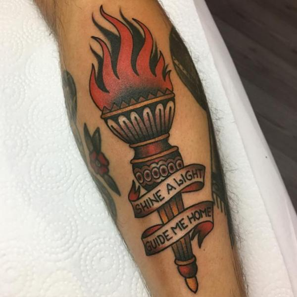 Arm Old School Flame Tattoo by Tatouage Chatte Noire