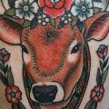 Old School Cow Thigh tattoo by Tatouage Chatte Noire