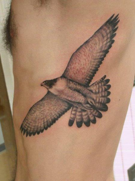 Realistic Side Eagle Tattoo by Tatouage Chatte Noire