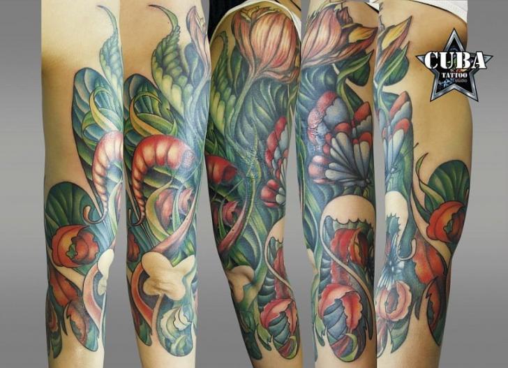 Arm Flower Leaf Tattoo by Cuba Tattoo