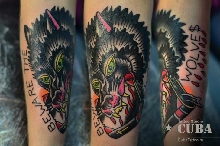 Arm Old School Wolf Tattoo by Cuba Tattoo