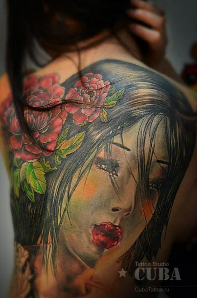 Japanese Back Geisha Tattoo by Cuba Tattoo