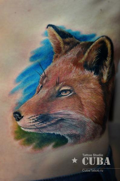 Realistic Side Wolf Tattoo by Cuba Tattoo