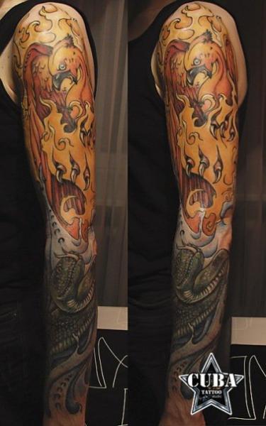 Phoenix Sleeve Tattoo by Cuba Tattoo