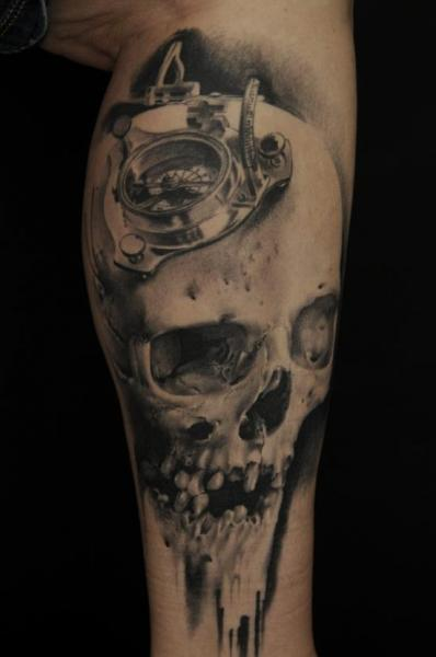 Arm Skull Compass Tattoo by Vicious Circle Tattoo