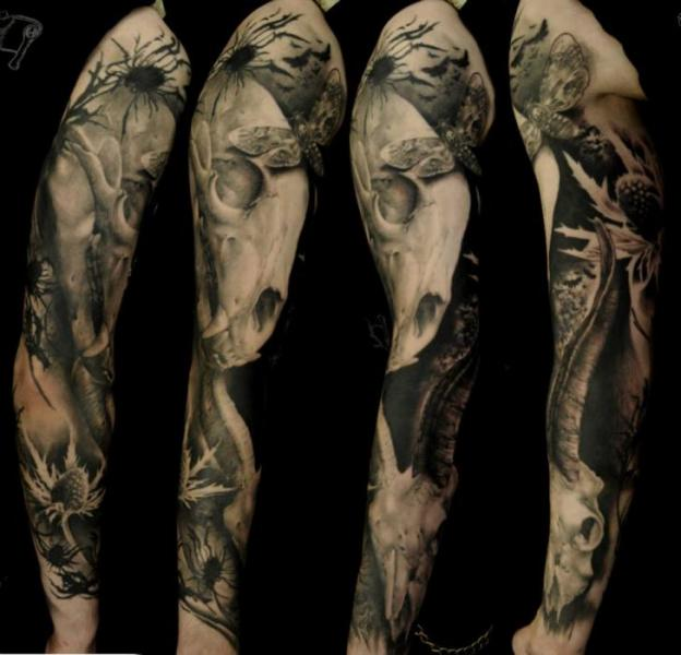 Skeleton Sleeve Tattoo by Vicious Circle Tattoo