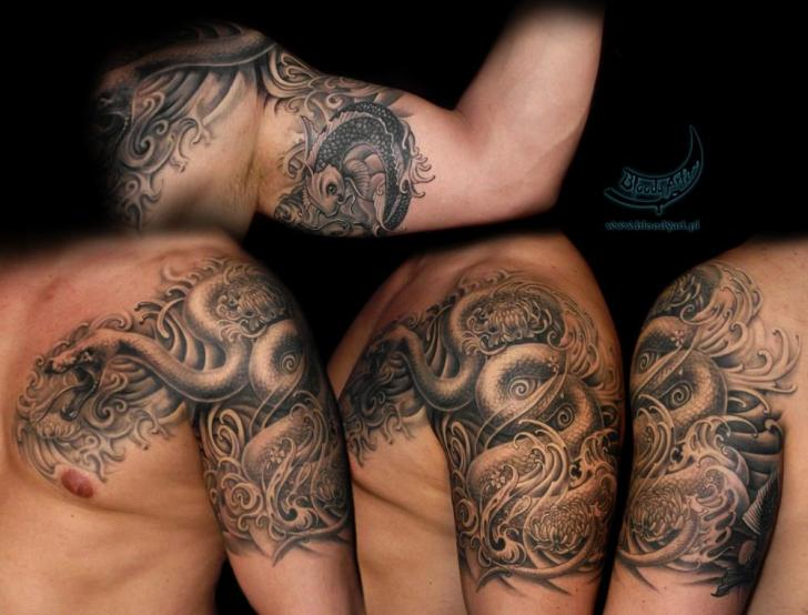 Shoulder Arm Snake Tattoo by Bloody Art