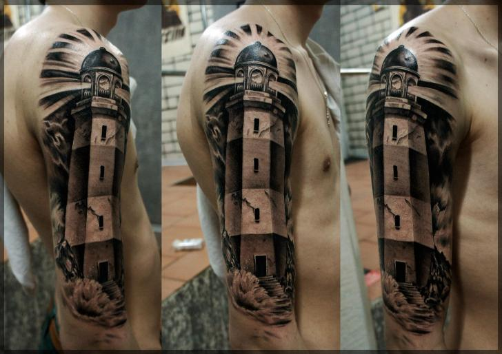 Arm Realistic Lighthouse Tattoo by Pavel Roch