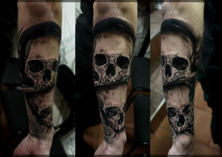 Arm Skull Tattoo by Pavel Roch