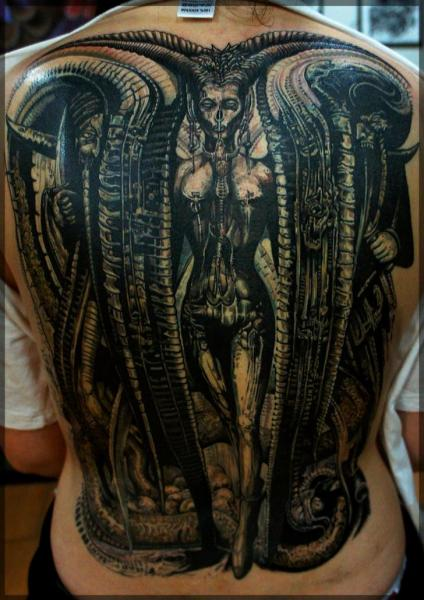 Fantasy Back Giger Tattoo by Pavel Roch