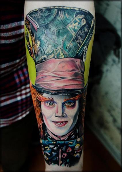 Porträt Realistische Johnny Depp Tattoo von Pavel Roch