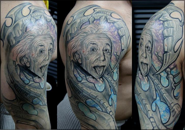 Schulter Porträt Einstein Tattoo von Pavel Roch