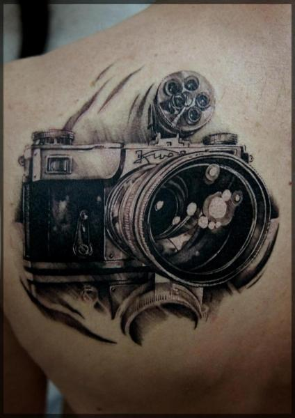 Shoulder Realistic Camera Tattoo by Pavel Roch