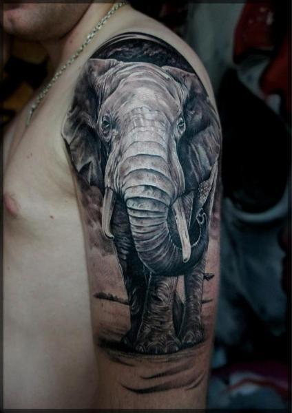 Shoulder Realistic Elephant Tattoo by Pavel Roch