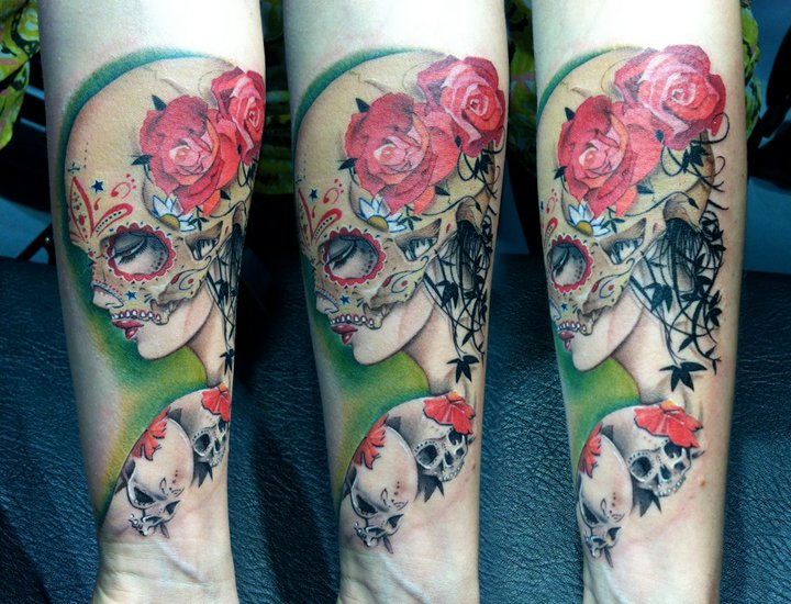 Arm Mexican Skull Tattoo by David Corden Tattoos