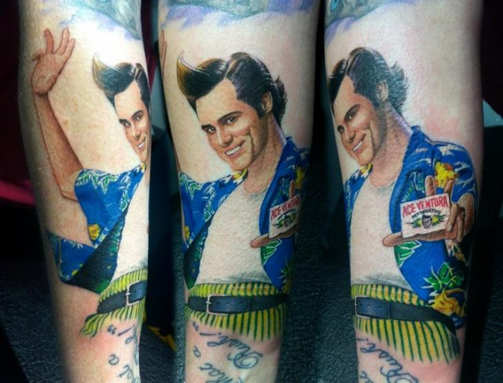 Arm Portrait Ace Ventura Tattoo by David Corden Tattoos