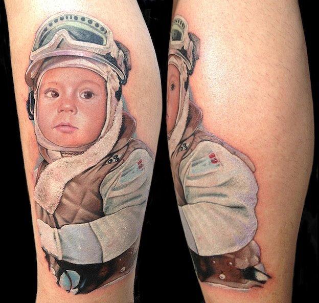 Tatuaje Brazo Retrato Niños por David Corden Tattoos
