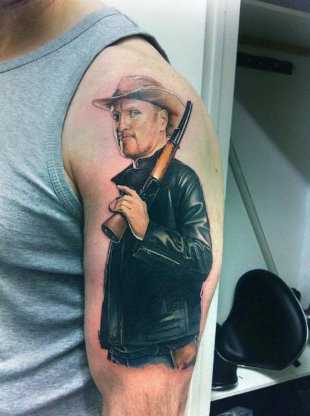Arm Realistic Gun Men Tattoo by David Corden Tattoos