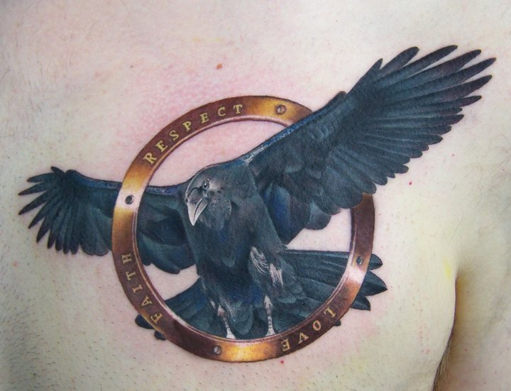 Realistic Chest Crow Tattoo by David Corden Tattoos