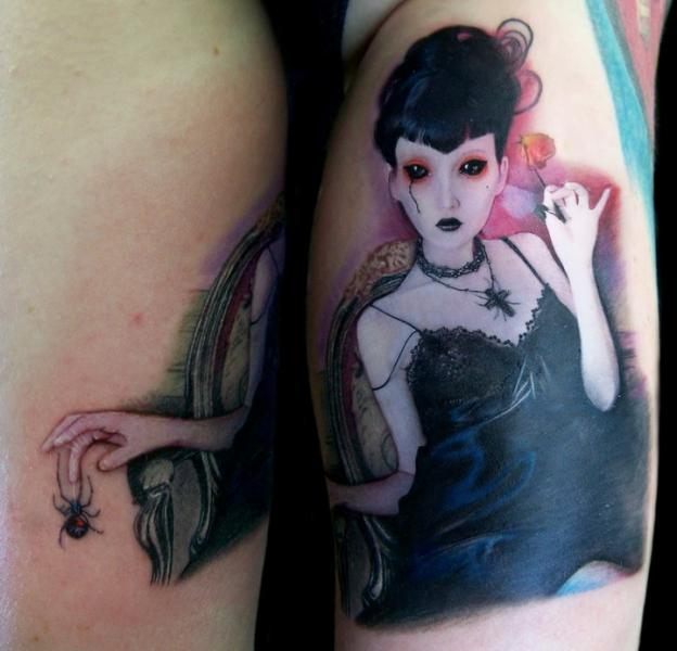 Fantasy Portrait Women Tattoo by David Corden Tattoos