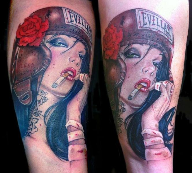 Realistic Women Boxe Tattoo by David Corden Tattoos