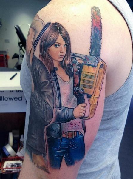 Shoulder Realistic Women Tattoo by David Corden Tattoos