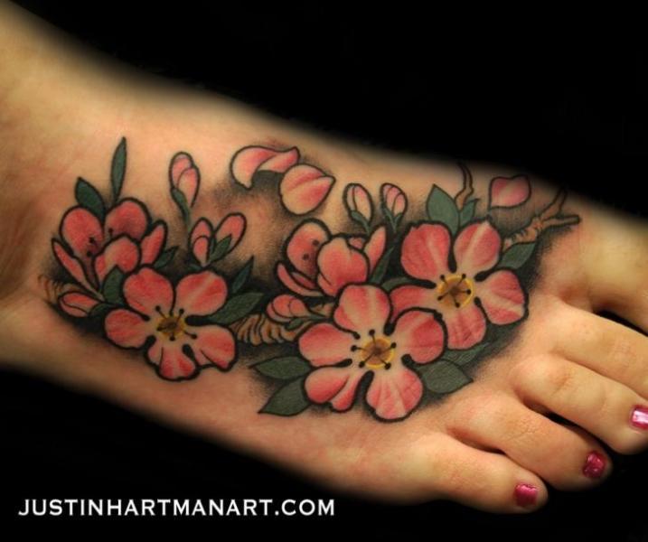 Foot Flower Tattoo by Justin Hartman