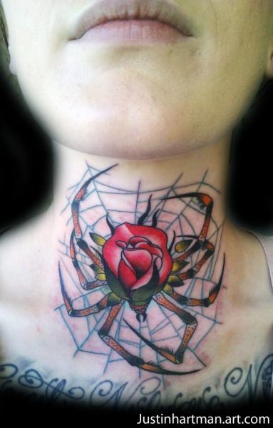 Old School Neck Spider Tattoo by Justin Hartman