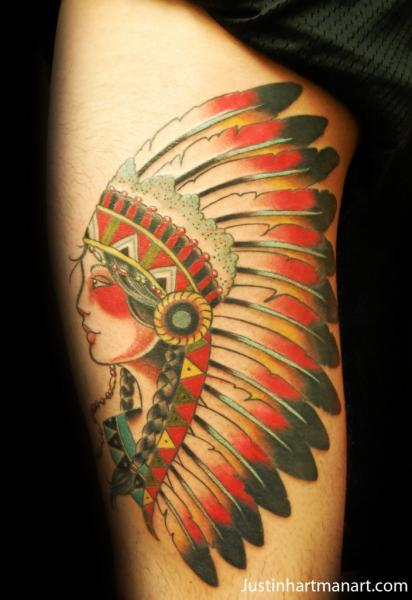 Old School Indian Thigh Tattoo by Justin Hartman