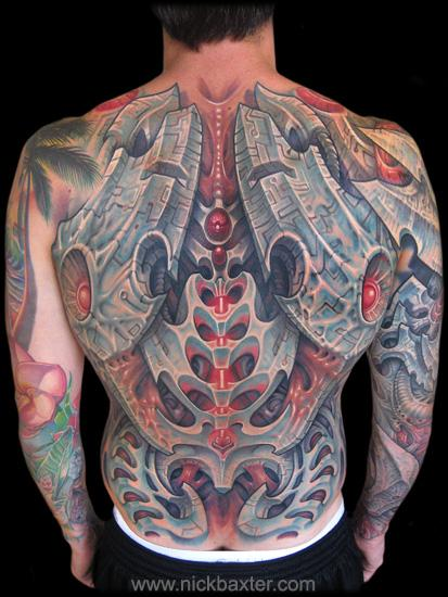 Biomechanical Back Tattoo by Nick Baxter