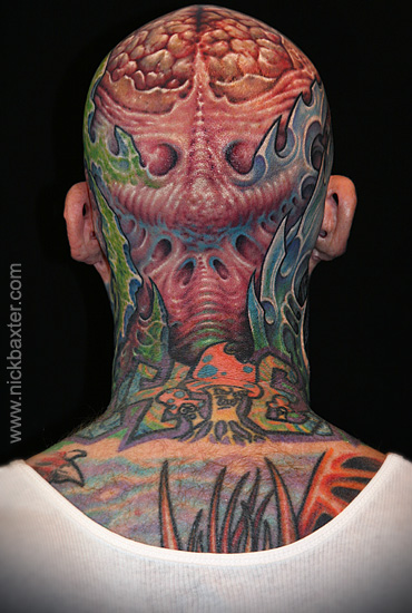 Biomechanical Head Tattoo by Nick Baxter