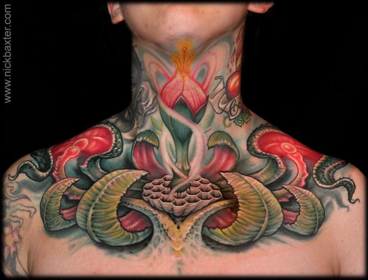 Fantasy Chest Flower Neck Tattoo by Nick Baxter