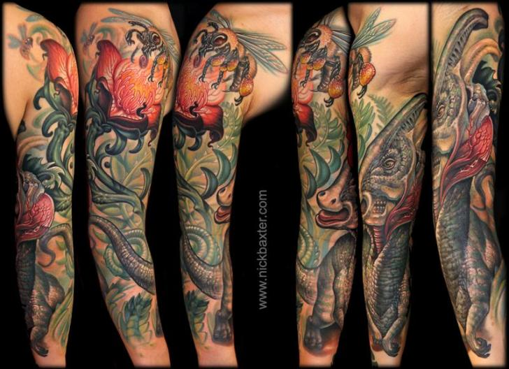 Flower Dinosaur Sleeve Tattoo by Nick Baxter