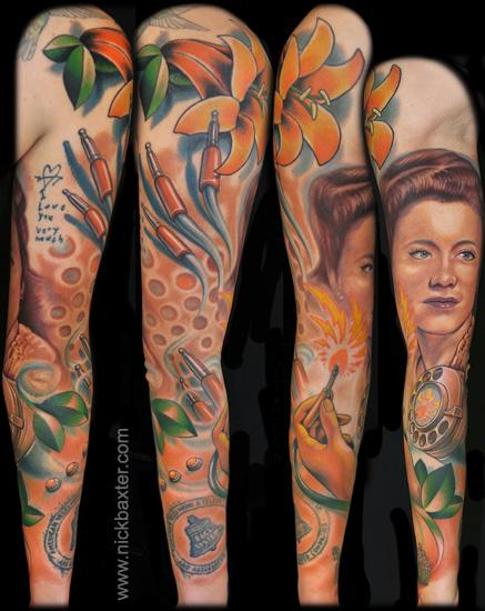 Realistic Women Sleeve Tattoo by Nick Baxter