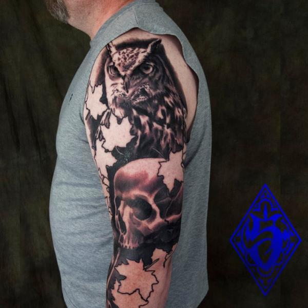 Arm Realistic Owl Tattoo by Plurabella
