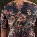 tatuaje Cráneo mexicano Espalda Esqueleto por Plurabella