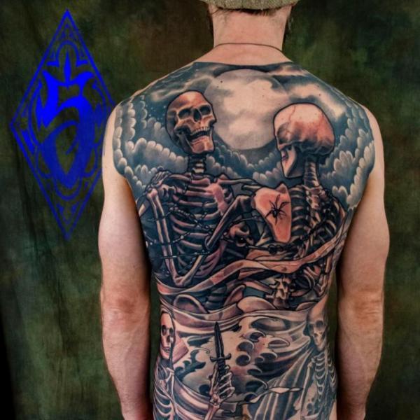 Back Skeleton Tattoo by Plurabella