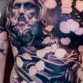 Schulter Brust Blumen Religiös Bauch tattoo von Plurabella