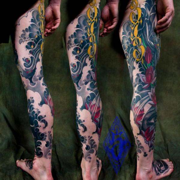 Leg Japanese Wave Tattoo by Plurabella