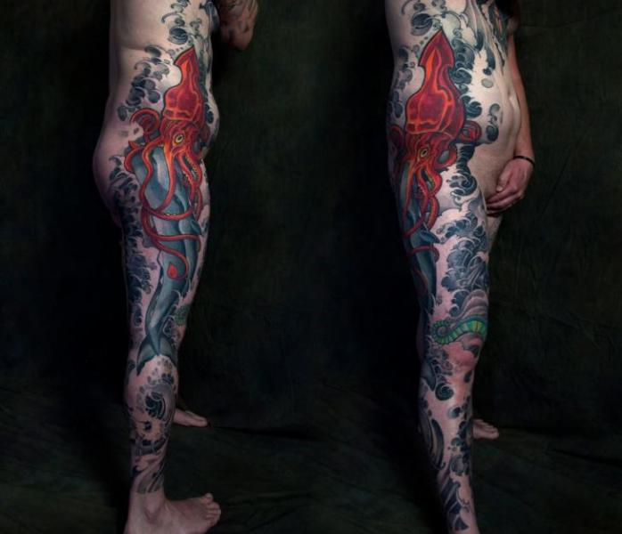 Leg Side Whale Octopus Tattoo by Plurabella